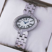 Delices de Cartier steel womens watch with two rows of diamonds on bezel