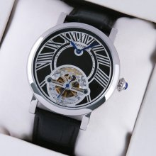 Rotonde de Cartier tourbillon mens watch imitation steel black leather strap