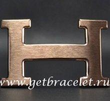 Hermes Reversible Belt 18K Pink Gold Brushed Buckle