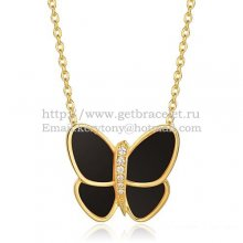 Van Cleef & Arpels Flying Butterfly Pendant Necklace Yellow Gold With Black Onyx Diamonds