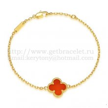 Van Cleef & Arpels Sweet Alhambra Bracelet Yellow Gold With Carnelian Mother Of Pearl