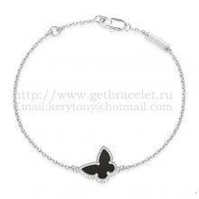 Van Cleef & Arpels Sweet Alhambra Butterfly Bracelet White Gold With Black Agate Mother Of Pearl