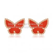 Van Cleef & Arpels Sweet Alhambra Butterfly Earrings Pink Gold With Carnelian Mother Of Pearl