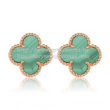 Van Cleef & Arpels Sweet Alhambra Earrings 15mm Pink Gold With Malachite Mother Of Pearl