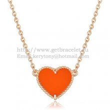 Van Cleef Arpels Sweet Alhambra Heart Pendant Pink Gold With Red Onyx Mother Of Pearl