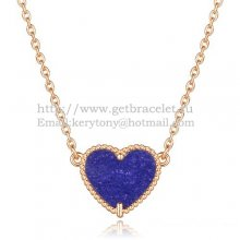 Van Cleef Arpels Sweet Alhambra Heart Pendant Pink Gold With Lapis Stone Mother Of Pearl
