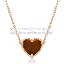 Van Cleef Arpels Sweet Alhambra Heart Pendant Pink Gold With Tiger's Eye Mother Of Pearl