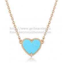 Van Cleef Arpels Sweet Alhambra Heart Pendant Pink Gold With Turquoise Mother Of Pearl