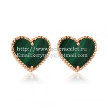 Van Cleef & Arpels Sweet Alhambra Heart Earrings Pink Gold With Malachite Mother Of Pearl