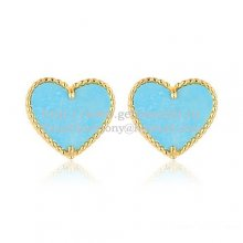 Van Cleef & Arpels Sweet Alhambra Heart Earrings Yellow Gold With Turquoise Mother Of Pearl