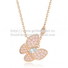 Van Cleef Arpels Two Butterfly Necklace Pink Gold Stone Combination With Pave Diamonds