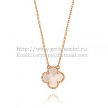 Van Cleef & Arpels Vintage Alhambra Pendant Pink Gold White Mother Of Pearl 15mm