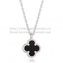 Van Cleef & Arpels Sweet Alhambra Pendant White Gold With Black Agate Mother Of Pearl 9mm