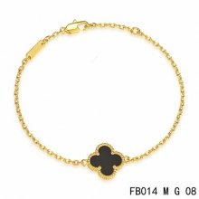 Replica Van Cleef & Arpels Sweet Alhambra Bracelet In Yellow Gold With Onyx