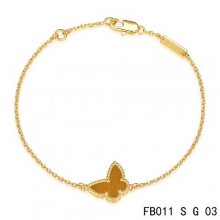 Replica Van Cleef & Arpels Sweet Alhambra Bracelet In Yellow With Light Red Butterfly