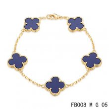 Replica Van Cleef & Arpels Alhambra Bracelet In Yellow With 5 Purple Clover