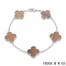 Fake Van Cleef & Arpels Alhambra Bracelet In White With 5 Gradient Red Clover