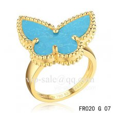 Fake Van Cleef Alhambra Ring In Yellow Gold With Turquoise