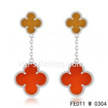 Cheap Van Cleef & Arpels Magic Alhambra Earrings In White Gold, 2 Motifs