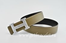 Hermes Reversible Belt Gray/Black Classics H Togo Calfskin With 18k Silver With Logo Buckle