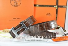 Hermes Reversible Belt Brown/Black Crocodile Stripe Leather With18K Drawbench Silver H Buckle