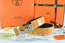 Hermes Reversible Belt Orange/Orange Crocodile Stripe Leather With18K Gold Coach Buckle