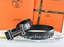 Hermes Reversible Belt Black/Black Crocodile Stripe Leather With18K Black Silver H Buckle