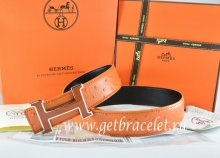 Hermes Reversible Belt Orange/Black Ostrich Stripe Leather With 18K Brown Silver Narrow H Buckle
