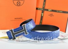 Hermes Reversible Belt Blue/Black Ostrich Stripe Leather With 18K Black Silver Narrow H Buckle