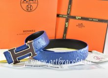 Hermes Reversible Belt Blue/Black Ostrich Stripe Leather With 18K Black Silver Width H Buckle