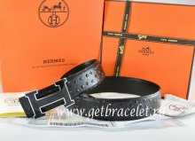 Hermes Reversible Belt Black/Black Ostrich Stripe Leather With 18K Black Gold Width H Buckle