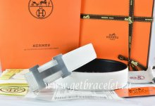 Hermes Reversible Belt White/Black Togo Calfskin With 18k Silver H Buckle
