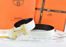 Hermes Reversible Belt White/Black Togo Calfskin With 18k Silver Wave Stripe H Buckle