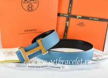 Hermes Reversible Belt Blue/Black Togo Calfskin With 18k Orange Silver H Buckle