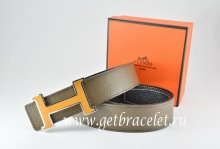 Hermes Reversible Belt Light Gray/Black Togo Calfskin With 18k Orange Silver H Buckle