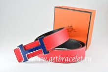 Hermes Reversible Belt Red/Black Togo Calfskin With 18k Blue Silver H Buckle