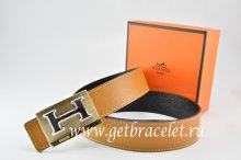 Hermes Reversible Belt Light Coffe/Black Togo Calfskin With 18k Gold Big H Buckle
