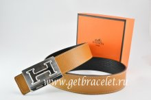 Hermes Reversible Belt Light Coffe/Black Togo Calfskin With 18k Silver Big H Buckle