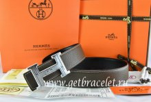 Hermes Reversible Belt Brown/Black Togo Calfskin With 18k Silver Geometric Stripe H Buckle