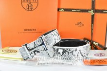 Hermes Reversible Belt White/Black Snake Stripe Leather With 18K Silver Idem With Logo Buckle
