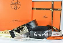 Hermes Reversible Belt Black/Black Snake Stripe Leather With 18K Gold Coach Buckle