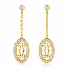 Cartier Logo Double C Earrings in 18K Yellow Gold With Diamonds