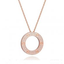Cartier Love Necklace Set In Pink Gold With Diamonds