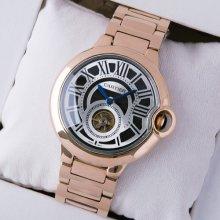 Ballon Bleu de Cartier Flying Tourbillon extra large watch replica black dial 18K pink gold