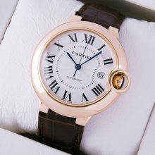 Ballon Bleu de Cartier W6900651 large watch replica 18K pink gold brown leather strap