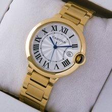 Ballon Bleu de Cartier medium quartz watch replica 18kt yellow gold