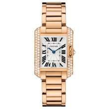 Cartier Tank Anglaise small diamond watch for women WT100002 18K pink gold