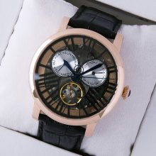 Rotonde de Cartier tourbillon skeleton watch for men 18K pink gold black leather strap
