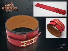 Hermes Fleuron Large Leather Bracelet Red With Gold