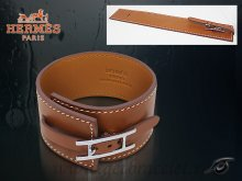 Hermes Fleuron Large Leather Bracelet Light Brown With Silver